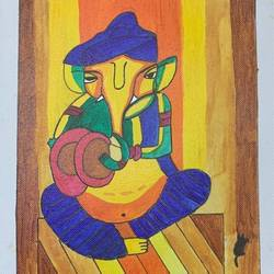 ganpati & shivling, 12 x 10 inch, adarsh daga,12x10inch,canvas,paintings,abstract paintings,figurative paintings,modern art paintings,conceptual paintings,religious paintings,ganesha paintings | lord ganesh paintings,lord shiva paintings,paintings for dining room,paintings for living room,paintings for bedroom,paintings for office,paintings for kids room,paintings for hotel,paintings for kitchen,paintings for school,paintings for hospital,acrylic color,GAL02891540889