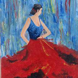 dancing lady, 12 x 16 inch, kopal raizada,12x16inch,canvas,paintings,figurative paintings,paintings for dining room,paintings for living room,paintings for bedroom,paintings for office,paintings for kids room,paintings for hotel,paintings for hospital,oil color,GAL02891640896