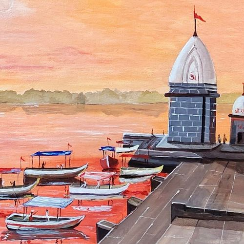 maheshwar ghat, 16 x 12 inch, subhash gijare,16x12inch,hardboard,paintings,landscape paintings,paintings for dining room,paintings for living room,paintings for bedroom,paintings for office,paintings for kids room,paintings for hotel,paintings for kitchen,paintings for school,paintings for hospital,acrylic color,GAL013840906
