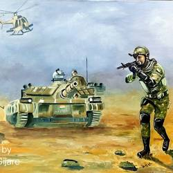 indian army, 36 x 24 inch, subhash gijare,36x24inch,hardboard,paintings,figurative paintings,conceptual paintings,paintings for dining room,paintings for living room,paintings for office,paintings for kids room,paintings for school,paintings for hospital,oil color,GAL013840908