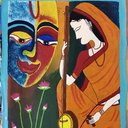 meera thinking about krishna, 12 x 16 inch, radha kannan,12x16inch,canvas,paintings,abstract paintings,figurative paintings,modern art paintings,religious paintings,contemporary paintings,paintings for dining room,paintings for living room,paintings for hotel,acrylic color,GAL02069740920