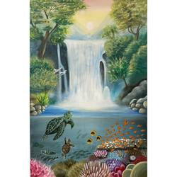 north wall lucky painting - positive elements- waterfall, sunrise , fishes,  mountains, turtles, birds , 24 x 36 inch, gaurangi gupta,24x36inch,canvas,paintings,wildlife paintings,landscape paintings,nature paintings | scenery paintings,art deco paintings,expressionism paintings,impressionist paintings,photorealism paintings,photorealism,portraiture,realism paintings,animal paintings,contemporary paintings,realistic paintings,water fountain paintings,paintings for dining room,paintings for living room,paintings for bedroom,paintings for office,paintings for bathroom,paintings for kids room,paintings for hotel,paintings for kitchen,paintings for school,paintings for hospital,acrylic color,GAL02814640927