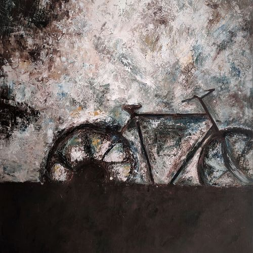 rainy day bicycle, 35 x 49 inch, saira biju,35x49inch,canvas,paintings,abstract paintings,conceptual paintings,paintings for dining room,paintings for living room,paintings for bedroom,paintings for office,paintings for hotel,acrylic color,mixed media,GAL02894540928