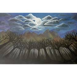 serene mountains and woods - moon , 36 x 24 inch, gaurangi gupta,36x24inch,canvas,paintings,wildlife paintings,landscape paintings,nature paintings | scenery paintings,photorealism paintings,photorealism,realistic paintings,paintings for dining room,paintings for living room,paintings for bedroom,paintings for office,paintings for kids room,paintings for hotel,paintings for kitchen,paintings for school,paintings for hospital,paintings for dining room,paintings for living room,paintings for bedroom,paintings for office,paintings for kids room,paintings for hotel,paintings for kitchen,paintings for school,paintings for hospital,acrylic color,GAL02814640931