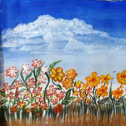 flowers looking at the blue sky, 12 x 8 inch, krithi acharya,12x8inch,drawing paper,paintings,flower paintings,paintings for dining room,paintings for living room,paintings for bedroom,paintings for office,paintings for hotel,acrylic color,GAL02890340944