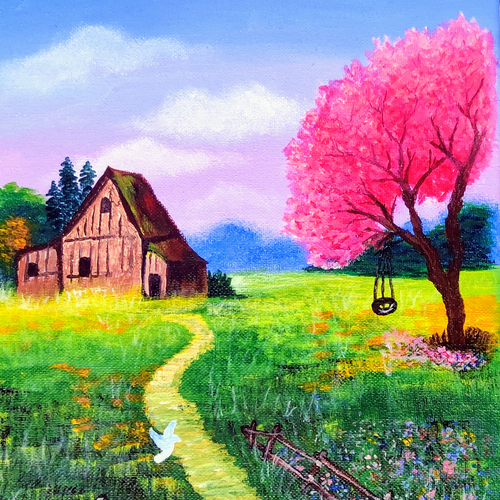 happy place, 10 x 12 inch, aarthy devi,10x12inch,canvas,paintings,nature paintings | scenery paintings,paintings for dining room,paintings for living room,paintings for bedroom,paintings for kids room,acrylic color,GAL02890940949