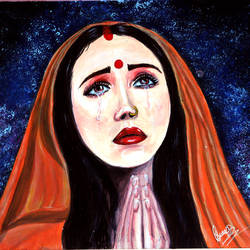 goddess sita mata, 13 x 10 inch, swati sharma,13x10inch,canvas,paintings,religious paintings,paintings for dining room,paintings for living room,paintings for office,paintings for school,paintings for hospital,acrylic color,GAL02535940950