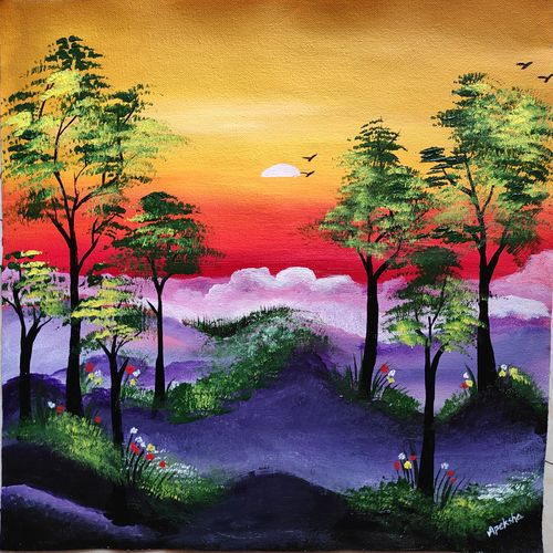 love for nature, 16 x 16 inch, apeksha agrawal,16x16inch,canvas,paintings,nature paintings | scenery paintings,paintings for dining room,paintings for living room,paintings for bedroom,paintings for office,paintings for bathroom,paintings for kids room,paintings for hotel,paintings for kitchen,paintings for school,paintings for hospital,acrylic color,GAL01501140957