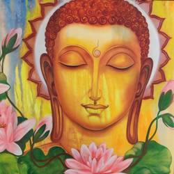 buddha, 40 x 30 inch, manjoo kiraan,40x30inch,canvas,paintings,buddha paintings,paintings for living room,paintings for office,oil color,GAL02884640966