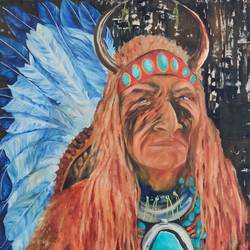 tribal chief, 36 x 48 inch, manjoo kiraan,36x48inch,canvas,paintings,portrait paintings,paintings for living room,paintings for office,paintings for hotel,paintings for living room,paintings for office,paintings for hotel,oil color,GAL02884640969