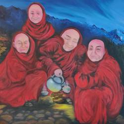 group of monks, 48 x 24 inch, manjoo kiraan,48x24inch,canvas,paintings,landscape paintings,portrait paintings,paintings for dining room,paintings for living room,paintings for bedroom,paintings for office,paintings for kids room,paintings for hotel,paintings for kitchen,oil color,GAL02884640972