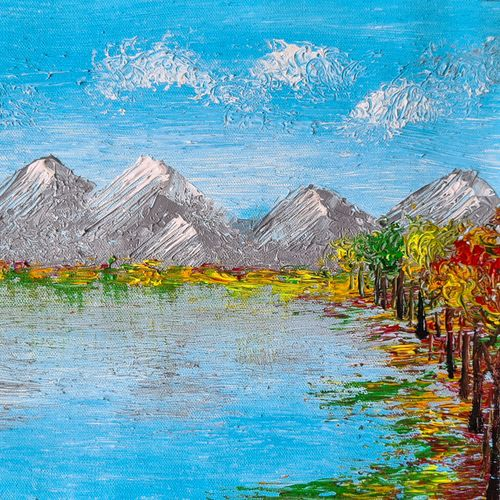 autumn under the blue sky, 14 x 11 inch, esther sandhya a,14x11inch,canvas,paintings,abstract paintings,landscape paintings,modern art paintings,nature paintings | scenery paintings,art deco paintings,contemporary paintings,paintings for dining room,paintings for living room,paintings for bedroom,paintings for office,paintings for bathroom,paintings for kids room,paintings for hotel,paintings for kitchen,paintings for school,paintings for hospital,acrylic color,GAL0166340974