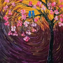 bluebirds in love, 14 x 11 inch, esther sandhya a,14x11inch,canvas,paintings,abstract paintings,flower paintings,landscape paintings,modern art paintings,nature paintings   scenery paintings,art deco paintings,contemporary paintings,paintings for dining room,paintings for living room,paintings for bedroom,paintings for office,paintings for bathroom,paintings for kids room,paintings for hotel,paintings for kitchen,paintings for school,paintings for hospital,paintings for dining room,paintings for living room,paintings for bedroom,paintings for office,paintings for bathroom,paintings for kids room,paintings for hotel,paintings for kitchen,paintings for school,paintings for hospital,acrylic color,GAL0166340975