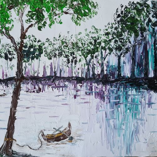 the lake of tranquillity , 14 x 11 inch, esther sandhya a,14x11inch,canvas,paintings,abstract paintings,landscape paintings,modern art paintings,nature paintings | scenery paintings,art deco paintings,contemporary paintings,paintings for dining room,paintings for living room,paintings for bedroom,paintings for office,paintings for kitchen,paintings for school,paintings for hospital,acrylic color,GAL0166340976