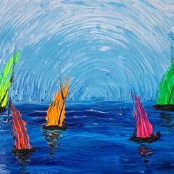 sun-kissed sailing, 14 x 11 inch, esther sandhya a,14x11inch,canvas,paintings,abstract paintings,modern art paintings,nature paintings | scenery paintings,art deco paintings,contemporary paintings,paintings for dining room,paintings for living room,paintings for bedroom,paintings for office,paintings for bathroom,paintings for kids room,paintings for hotel,paintings for kitchen,paintings for school,paintings for hospital,acrylic color,GAL0166340977