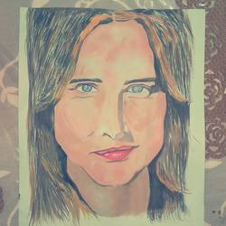 cobie smulders, 11 x 17 inch, rahul  pratap,portrait paintings,paintings for dining room,ivory sheet,acrylic color,11x17inch,GAL0182410