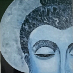 lord budha, 25 x 30 inch, arpita  tomar,buddha paintings,paintings for living room,canvas,acrylic color,25x30inch,religious,peace,meditation,meditating,gautam,goutam,buddha,blue,grey,face,moon,GAL012564101