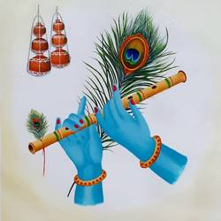 flute, 13 x 13 inch, sneha petkar,13x13inch,canvas,paintings,religious paintings,radha krishna paintings,paintings for dining room,paintings for living room,paintings for bedroom,paintings for office,paintings for hotel,acrylic color,GAL02902141031