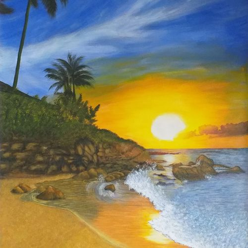 beach sunrise, 18 x 25 inch, sneha petkar,18x25inch,canvas,paintings,landscape paintings,nature paintings | scenery paintings,paintings for dining room,paintings for living room,paintings for bedroom,paintings for office,paintings for hotel,paintings for hospital,acrylic color,GAL02902141032