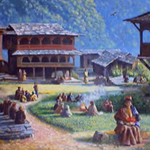 malana village, 30 x 24 inch, maithreyi krishnaswamy,30x24inch,canvas,landscape paintings,paintings for living room,paintings for bedroom,paintings for office,paintings for hotel,paintings for living room,paintings for bedroom,paintings for office,paintings for hotel,oil color,GAL02904641039