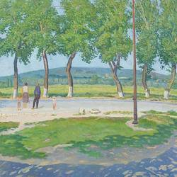 a bus stop in anapa, 32 x 32 inch, moesey li,landscape paintings,paintings for living room,canvas,oil paint,32x32inch,GAL07184104