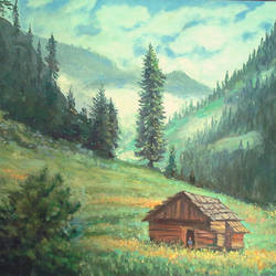 'a himalayan village', 20 x 16 inch, maithreyi krishnaswamy,20x16inch,canvas,landscape paintings,oil color,GAL02904641040