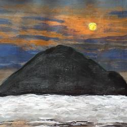 sunset time at the beach, 12 x 8 inch, krithi acharya,12x8inch,thick paper,paintings,landscape paintings,paintings for dining room,paintings for living room,paintings for bedroom,paintings for office,paintings for hotel,paintings for school,paintings for hospital,acrylic color,GAL02890341042