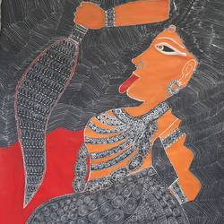 goddess kali part 3, 24 x 36 inch, lakshmi menon,24x36inch,canvas,paintings,figurative paintings,folk art paintings,religious paintings,madhubani paintings | madhubani art,paintings for dining room,paintings for living room,paintings for bedroom,paintings for office,paintings for hotel,paintings for school,paintings for hospital,acrylic color,ink color,pen color,GAL02888741044
