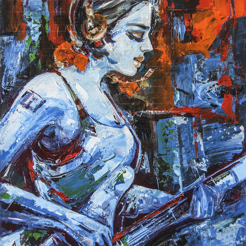 guitar girl wembley, 18 x 26 inch, gurdish pannu,18x26inch,canvas,paintings,figurative paintings,portrait paintings,expressionism paintings,paintings for living room,paintings for bedroom,paintings for office,paintings for hotel,acrylic color,GAL0253741047