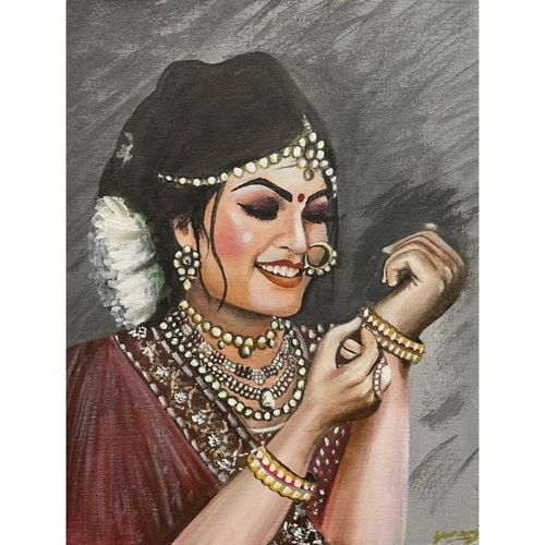 indian bridal saree jewellery woman portrait beautiful , 14 x 18 inch, gaurangi gupta,14x18inch,canvas,paintings,conceptual paintings,still life paintings,art deco paintings,photorealism paintings,photorealism,portraiture,realism paintings,realistic paintings,love paintings,paintings for dining room,paintings for living room,paintings for bedroom,paintings for office,paintings for bathroom,paintings for kids room,paintings for hotel,paintings for kitchen,paintings for school,paintings for hospital,acrylic color,GAL02814641055
