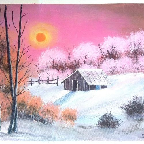 warm winter , 12 x 10 inch, sai amale ,12x10inch,canvas,paintings,landscape paintings,paintings for dining room,paintings for living room,paintings for bedroom,paintings for office,paintings for hotel,acrylic color,GAL02904141059