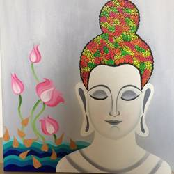 white buddha, 24 x 24 inch, amita dand,buddha paintings,paintings for living room,religious paintings,canvas,mixed media,24x24inch,GAL014674106