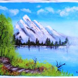lake view mountain scenery , 10 x 8 inch, sai amale ,10x8inch,canvas,paintings,landscape paintings,paintings for dining room,paintings for living room,paintings for bedroom,paintings for office,paintings for hotel,acrylic color,GAL02904141060