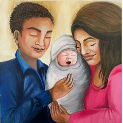 emotional mother father new born baby painting portrait , 24 x 24 inch, gaurangi gupta,24x24inch,canvas,paintings,abstract paintings,portrait paintings,art deco paintings,photorealism paintings,photorealism,portraiture,realism paintings,realistic paintings,love paintings,baby paintings,paintings for dining room,paintings for living room,paintings for bedroom,paintings for office,paintings for bathroom,paintings for kids room,paintings for hotel,paintings for kitchen,paintings for school,paintings for hospital,acrylic color,GAL02814641062