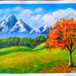 a fire tree , 10 x 8 inch, sai amale ,10x8inch,canvas,paintings,landscape paintings,paintings for dining room,paintings for living room,paintings for bedroom,paintings for office,paintings for hotel,acrylic color,GAL02904141063