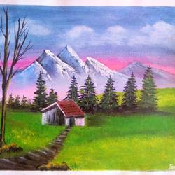 a way to old house , 10 x 8 inch, sai amale ,10x8inch,canvas,paintings,landscape paintings,paintings for dining room,paintings for living room,paintings for bedroom,paintings for office,paintings for hotel,acrylic color,GAL02904141065