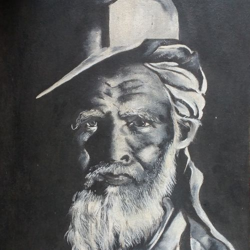 the old mine worker, 12 x 20 inch, monamee das,figurative paintings,paintings for living room,canvas,oil,12x20inch,GAL02474107