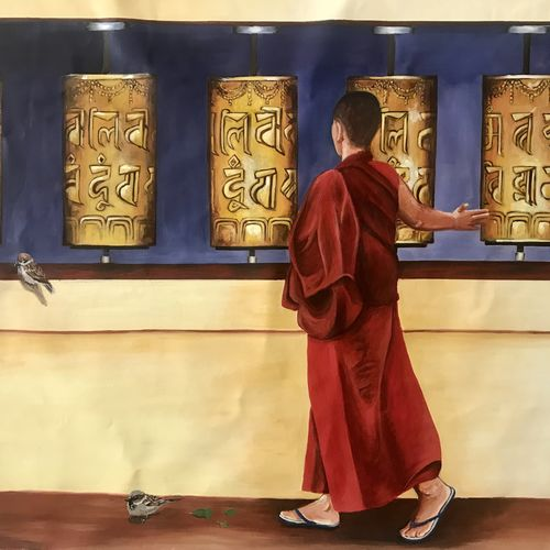 prayer to buddha, 42 x 36 inch, kangana vohra,42x36inch,canvas,paintings,buddha paintings,figurative paintings,conceptual paintings,religious paintings,art deco paintings,expressionism paintings,photorealism paintings,photorealism,realism paintings,contemporary paintings,realistic paintings,paintings for dining room,paintings for living room,paintings for bedroom,paintings for office,paintings for bathroom,paintings for kids room,paintings for hotel,paintings for school,paintings for hospital,acrylic color,GAL0725841071