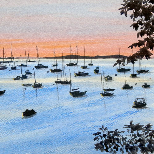 boats in sunset, 16 x 12 inch, murugesan a.,16x12inch,arches paper,paintings,landscape paintings,impressionist paintings,contemporary paintings,paintings for dining room,paintings for living room,paintings for bedroom,paintings for office,paintings for bathroom,paintings for hotel,paintings for kitchen,paintings for school,paintings for hospital,watercolor,GAL01496141073