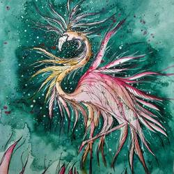 bird - flamingo angelic, 9 x 11 inch, mansi saxena,9x11inch,thick paper,abstract paintings,wildlife paintings,figurative paintings,paintings for dining room,paintings for living room,paintings for bedroom,paintings for office,paintings for bathroom,paintings for hotel,paintings for dining room,paintings for living room,paintings for bedroom,paintings for office,paintings for bathroom,paintings for hotel,ink color,watercolor,paper,GAL0766941075