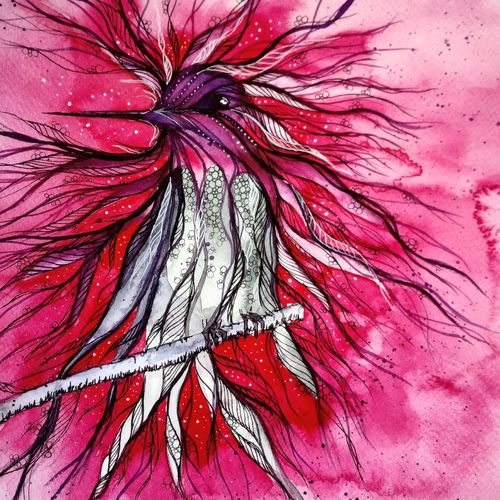 bird - guarded fairy wren, 16 x 11 inch, mansi saxena,16x11inch,thick paper,paintings,wildlife paintings,figurative paintings,paintings for dining room,paintings for living room,paintings for bedroom,paintings for office,paintings for bathroom,paintings for kids room,paintings for hotel,watercolor,GAL0766941079