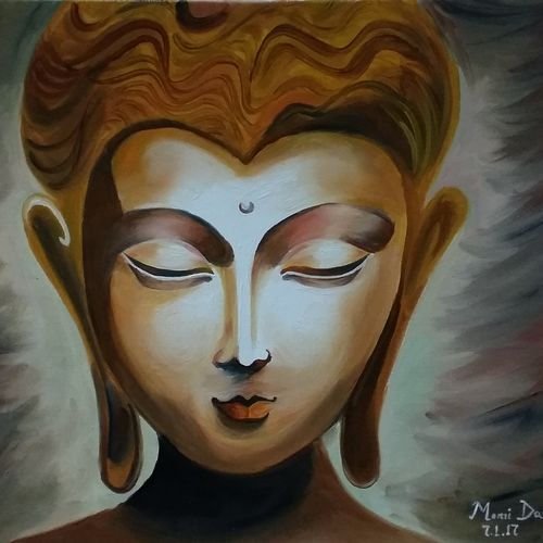 buddha, 12 x 20 inch, monamee das,buddha paintings,paintings for living room,paintings for office,canvas,oil,12x20inch,religious,peace,meditation,meditating,gautam,goutam,buddha,face,brown,smiling,GAL02474108