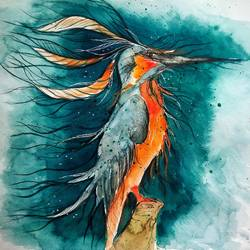 bird - queen of kingfishers, 11 x 11 inch, mansi saxena,11x11inch,thick paper,paintings,wildlife paintings,figurative paintings,paintings for dining room,paintings for living room,paintings for bedroom,paintings for office,paintings for kids room,paintings for hotel,watercolor,GAL0766941080