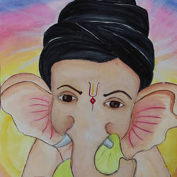 ganpati, 8 x 12 inch, priya  verma,8x12inch,drawing paper,paintings,ganesha paintings | lord ganesh paintings,paintings for dining room,paintings for office,paintings for school,paintings for dining room,paintings for office,paintings for school,watercolor,GAL02889441082
