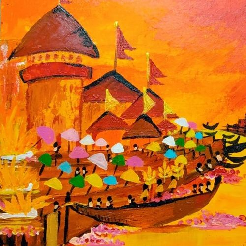 varanasi, 16 x 12 inch, rupal chaturvedi,16x12inch,canvas,paintings,abstract paintings,landscape paintings,paintings for living room,paintings for hotel,paintings for kitchen,acrylic color,GAL02907641083