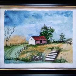 house in nature, 12 x 10 inch, sai amale ,12x10inch,brustro watercolor paper,paintings,landscape paintings,paintings for dining room,paintings for living room,paintings for bedroom,paintings for office,paintings for hotel,watercolor,GAL02904141094
