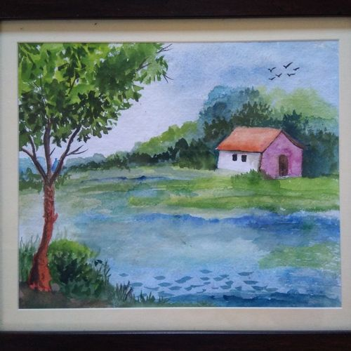 colorfull house in nature, 12 x 10 inch, sai amale ,12x10inch,brustro watercolor paper,paintings,landscape paintings,paintings for dining room,paintings for living room,paintings for bedroom,paintings for hotel,watercolor,GAL02904141095