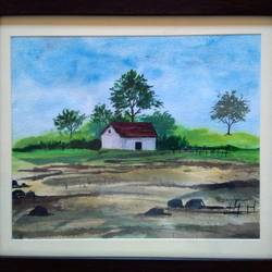 house in nature, 12 x 10 inch, sai amale ,12x10inch,brustro watercolor paper,paintings,landscape paintings,paintings for dining room,paintings for living room,paintings for bedroom,paintings for office,paintings for hotel,watercolor,GAL02904141096