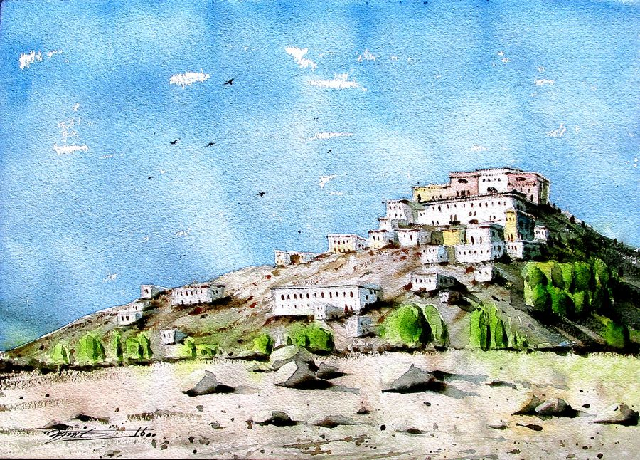 house on mountain , 11 x 16 inch, sumit nahar,landscape paintings,paintings for bedroom,renaissance watercolor paper,watercolor,11x16inch,GAL0190411