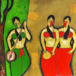 three friends, 34 x 29 inch, chetan katigar,figurative paintings,paintings for living room,canvas,mixed media,34x29inch,GAL02664110